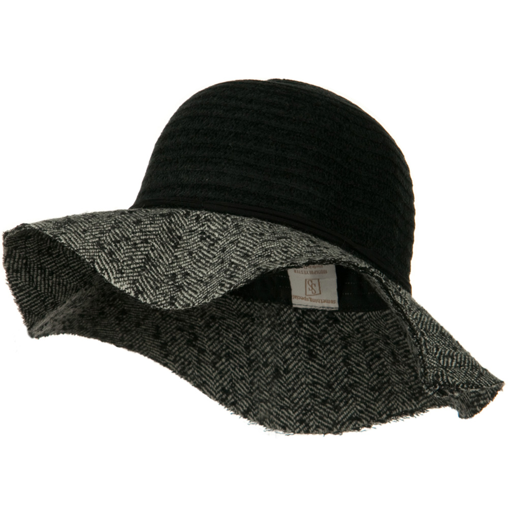 Chenille Hat with Frayed Brim - Black Grey - Hats and Caps Online Shop - Hip Head Gear