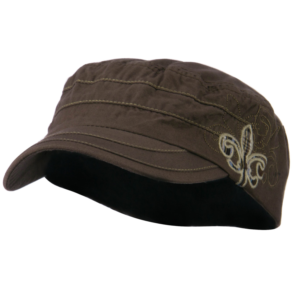 Checkered Flower Army Cap - Brown - Hats and Caps Online Shop - Hip Head Gear