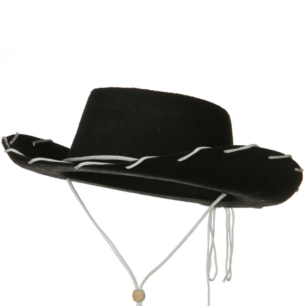 Stitched Child Felt Cowboy Hat - Black - Hats and Caps Online Shop - Hip Head Gear