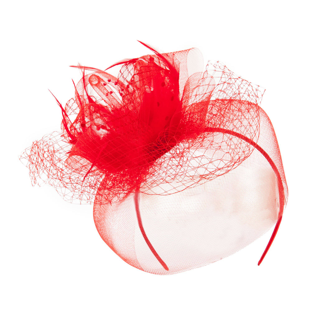 Carnation Fascinator with Feather and Netting Accent - Red - Hats and Caps Online Shop - Hip Head Gear