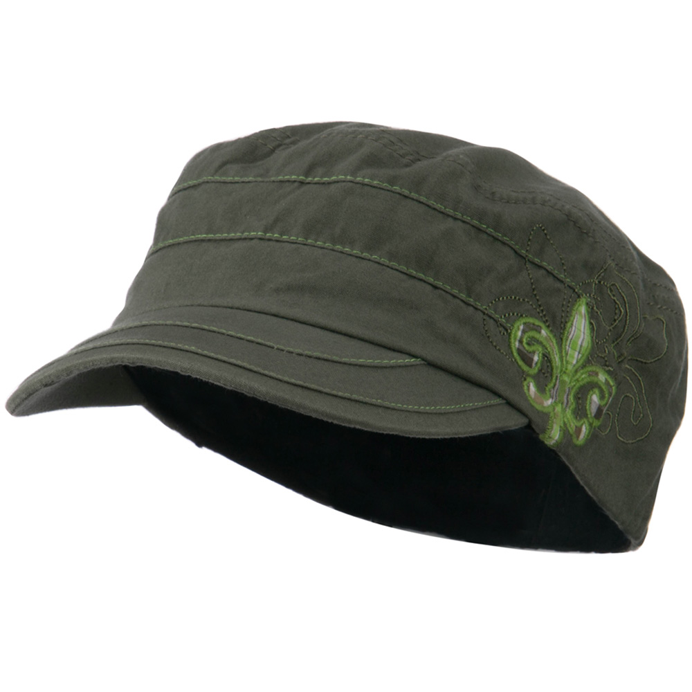 Checkered Flower Army Cap - Olive - Hats and Caps Online Shop - Hip Head Gear