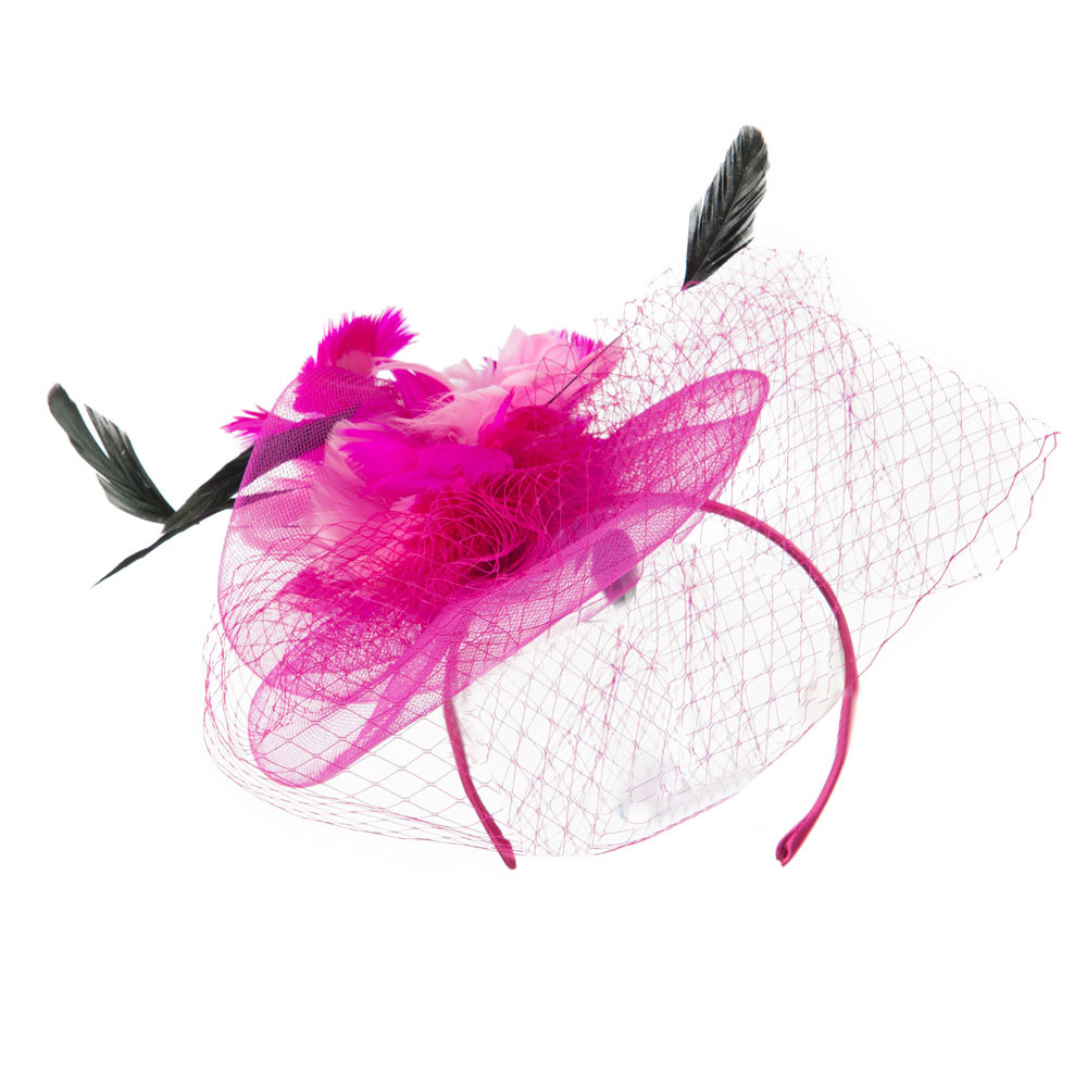Multi Colored Feather Fascinator with Circle Shaped Net - Fuchsia - Hats and Caps Online Shop - Hip Head Gear