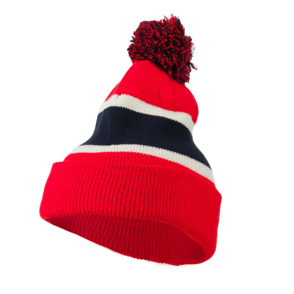 Colorful Cuff Beanie with Tassle - Red Navy - Hats and Caps Online Shop - Hip Head Gear