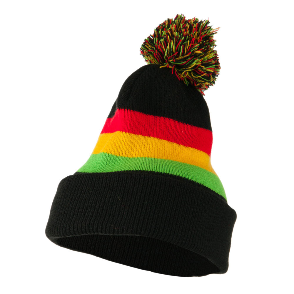 Colorful Cuff Beanie with Tassle - Red Yellow Green - Hats and Caps Online Shop - Hip Head Gear