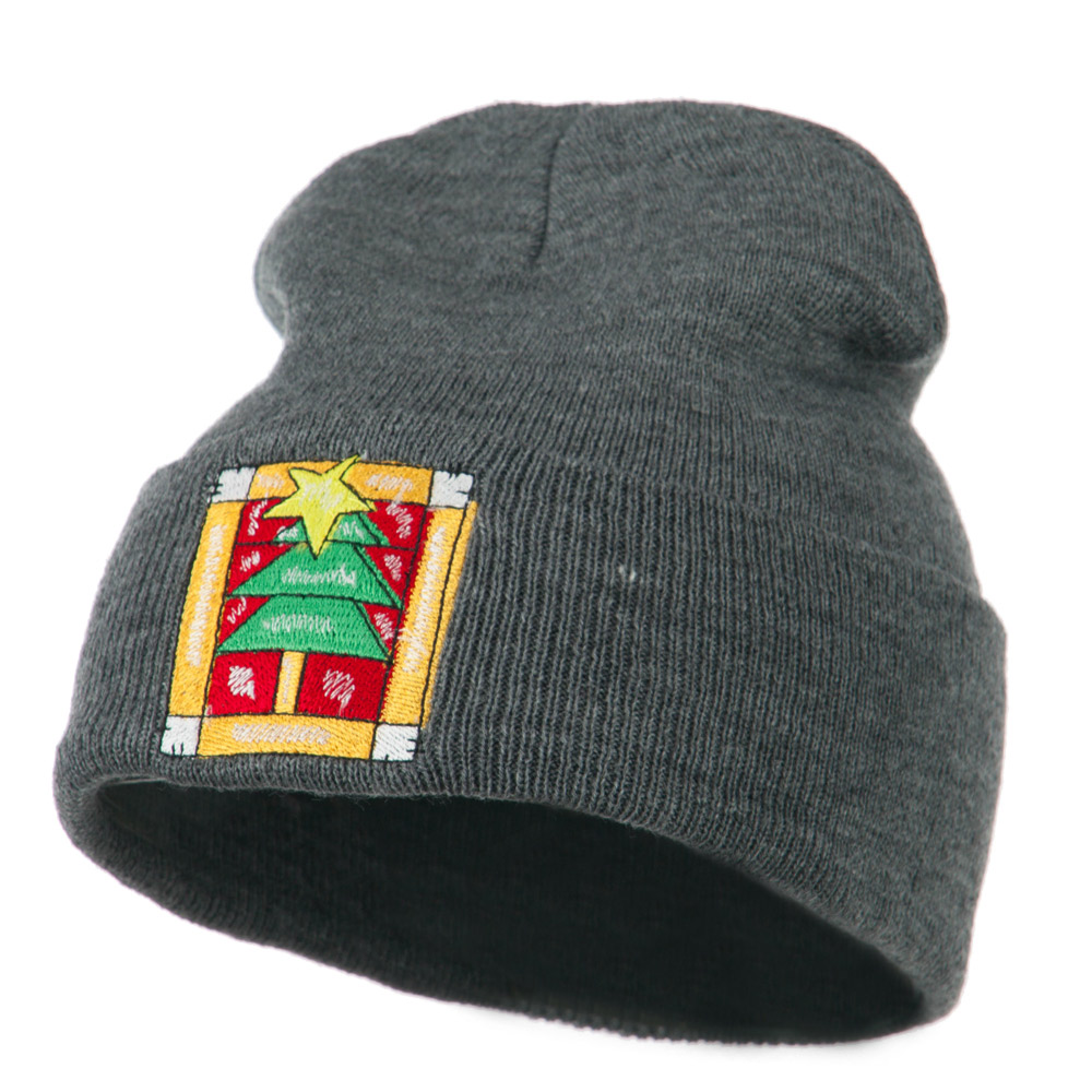 Christmas Tree with Frame Embroidered Beanie - Grey - Hats and Caps Online Shop - Hip Head Gear
