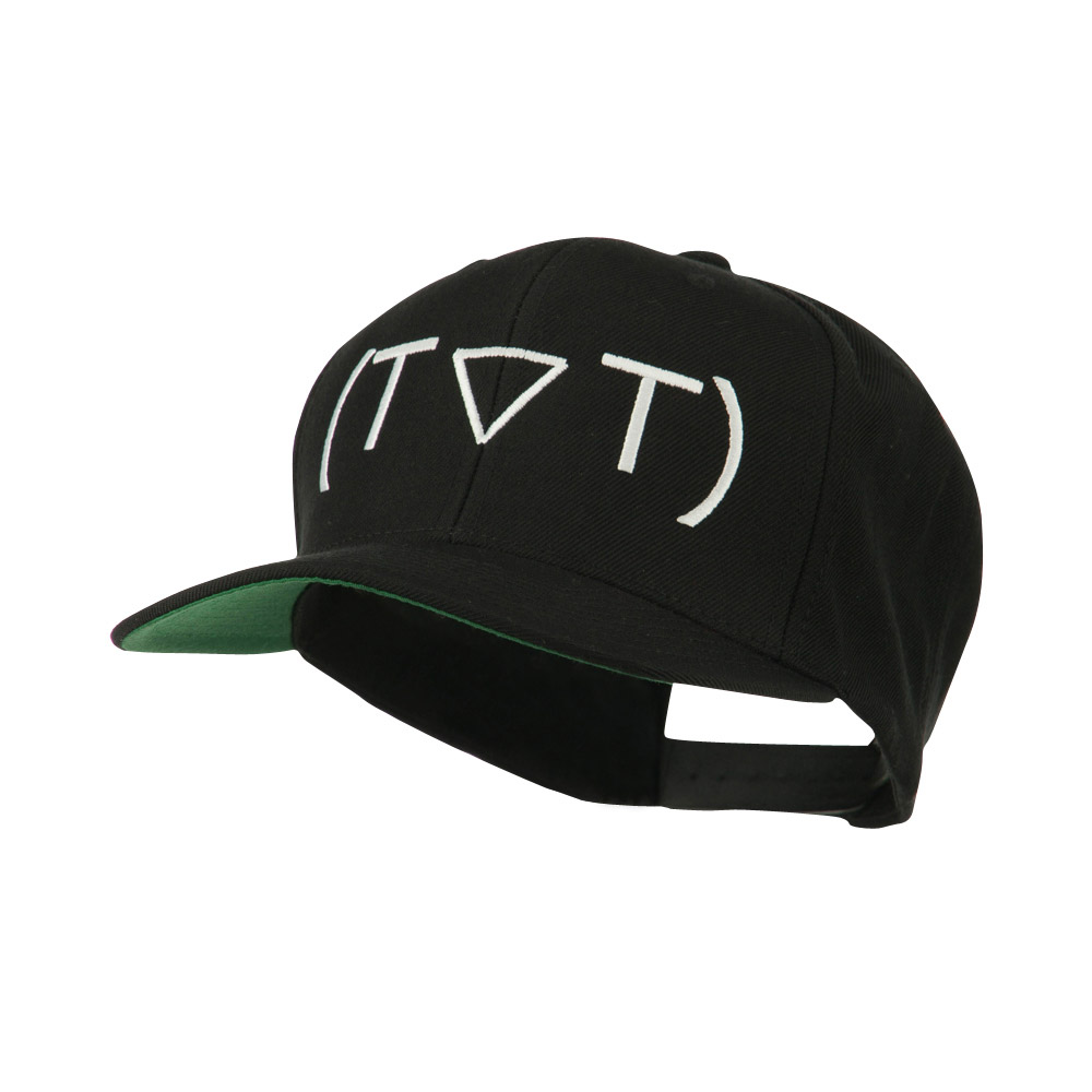Crying Face Text Emoticon Embroidered Snapback Cap - Black - Hats and Caps Online Shop - Hip Head Gear