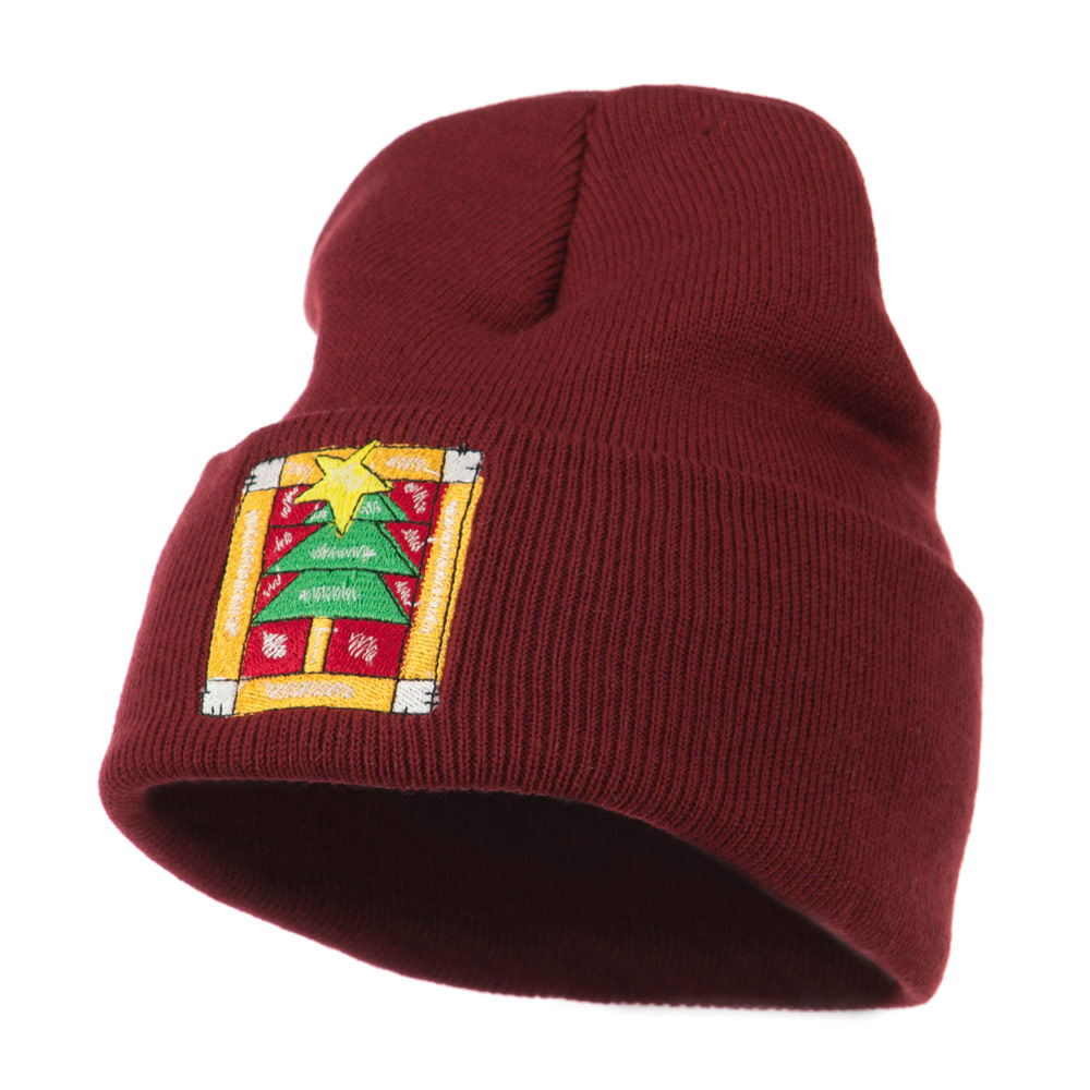 Christmas Tree with Frame Embroidered Beanie - Maroon - Hats and Caps Online Shop - Hip Head Gear