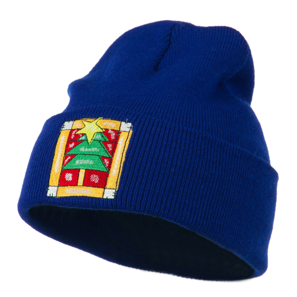 Christmas Tree with Frame Embroidered Beanie - Royal - Hats and Caps Online Shop - Hip Head Gear