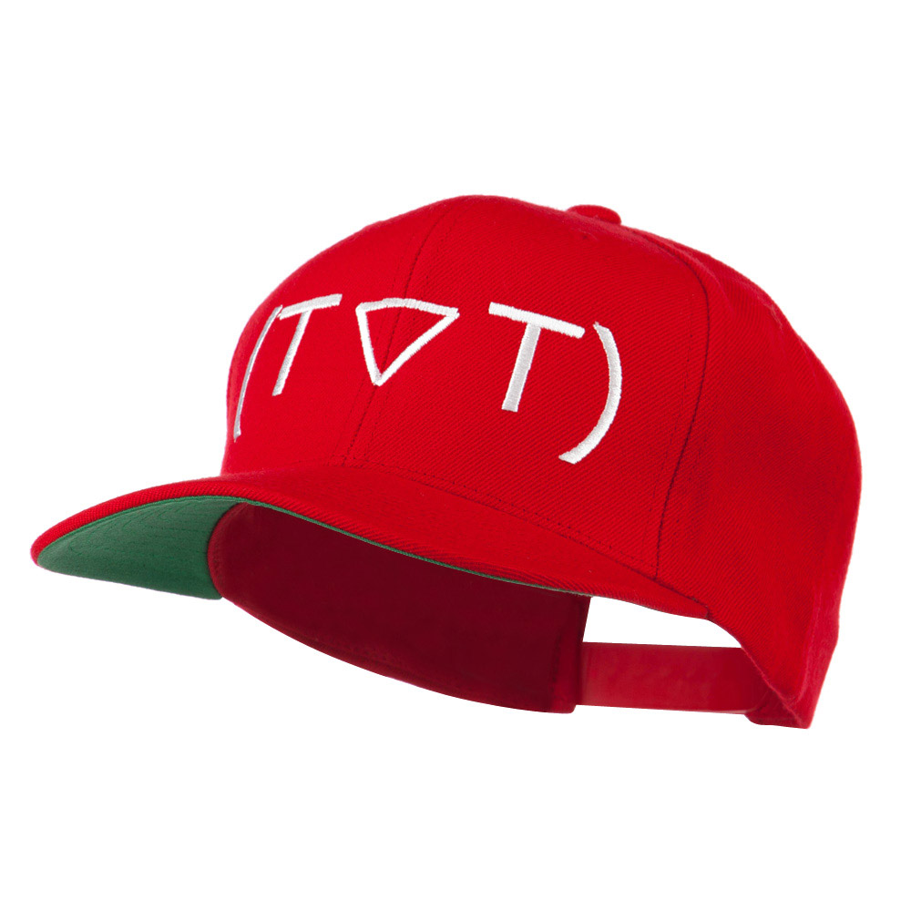 Crying Face Text Emoticon Embroidered Snapback Cap - Red - Hats and Caps Online Shop - Hip Head Gear