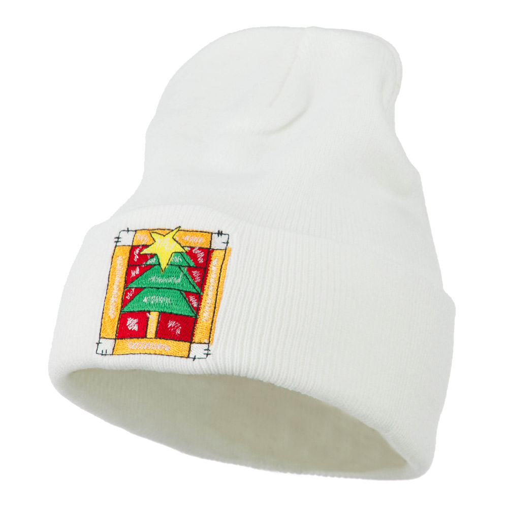 Christmas Tree with Frame Embroidered Beanie - White - Hats and Caps Online Shop - Hip Head Gear