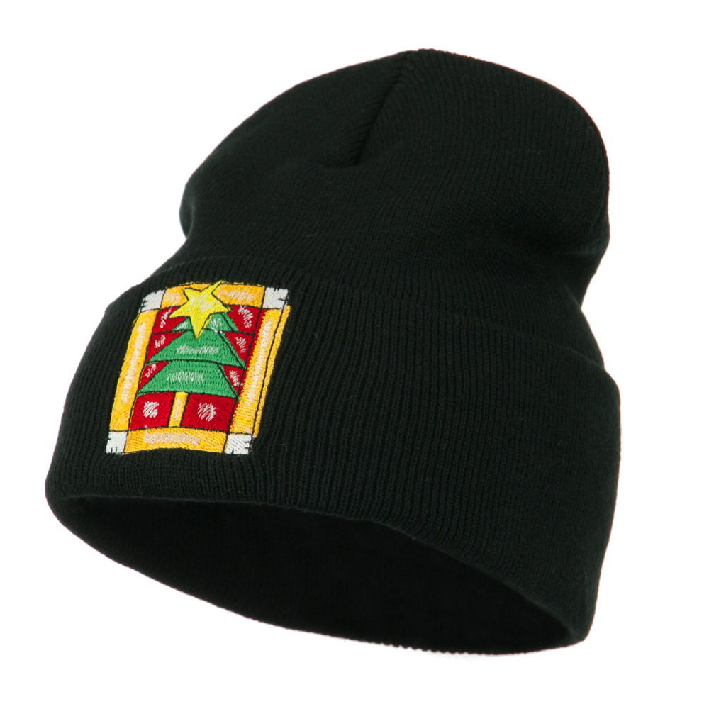 Christmas Tree with Frame Embroidered Beanie - Black - Hats and Caps Online Shop - Hip Head Gear