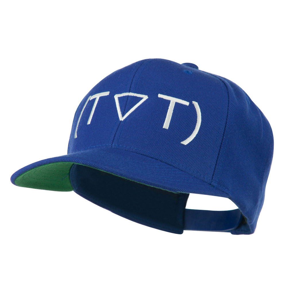 Crying Face Text Emoticon Embroidered Snapback Cap - Navy - Hats and Caps Online Shop - Hip Head Gear