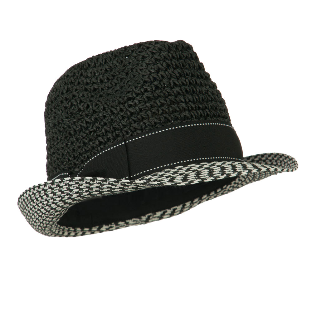 Crochet Crown Two Tone Brim Fedora - Black