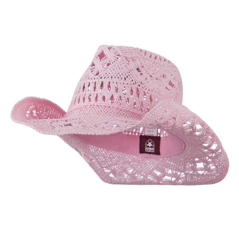 Solid Color Straw Cowboy Hat - Pink - Hats and Caps Online Shop - Hip Head Gear