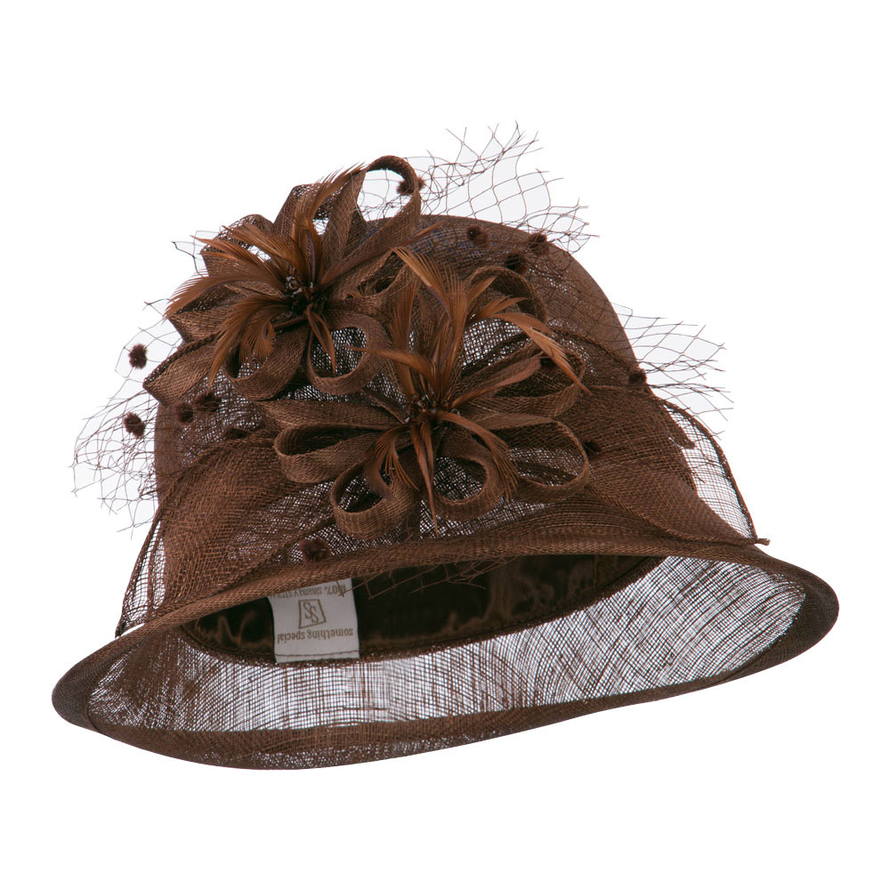 2 Flowers Accent Cloche Sinamay Hat - Brown - Hats and Caps Online Shop - Hip Head Gear