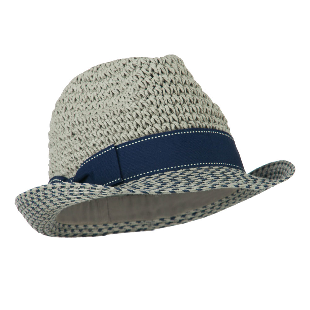 Crochet Crown Two Tone Brim Fedora - Grey