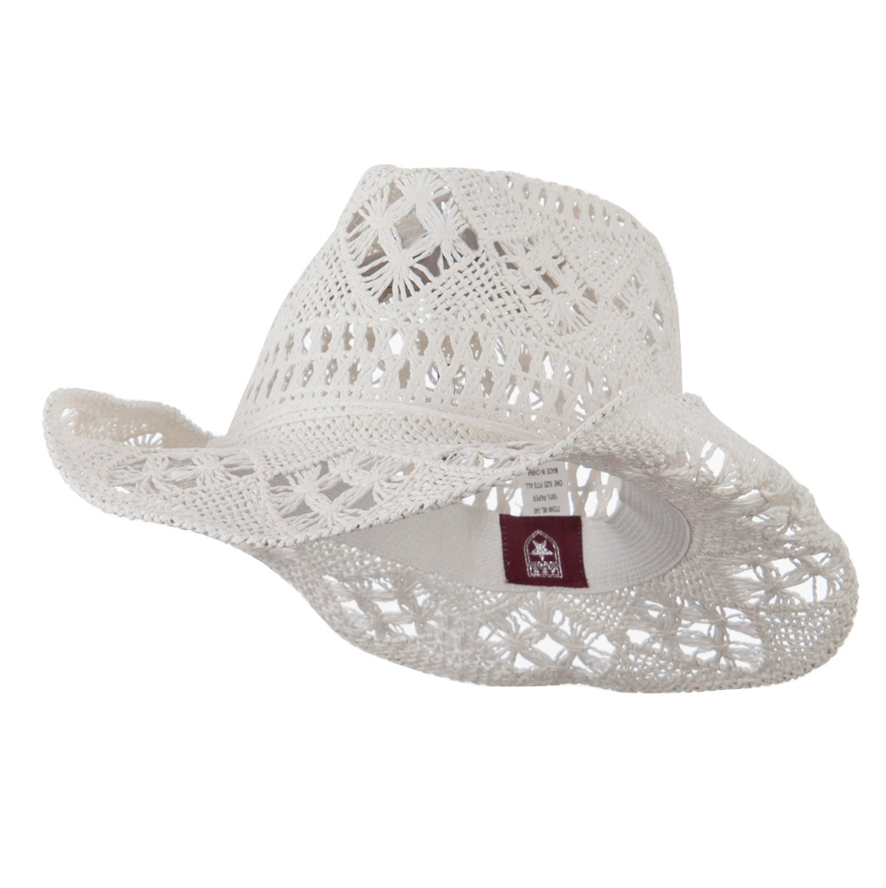 Solid Color Straw Cowboy Hat - White - Hats and Caps Online Shop - Hip Head Gear