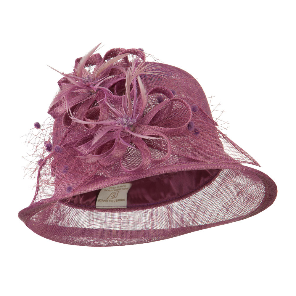 2 Flowers Accent Cloche Sinamay Hat - Lavender - Hats and Caps Online Shop - Hip Head Gear