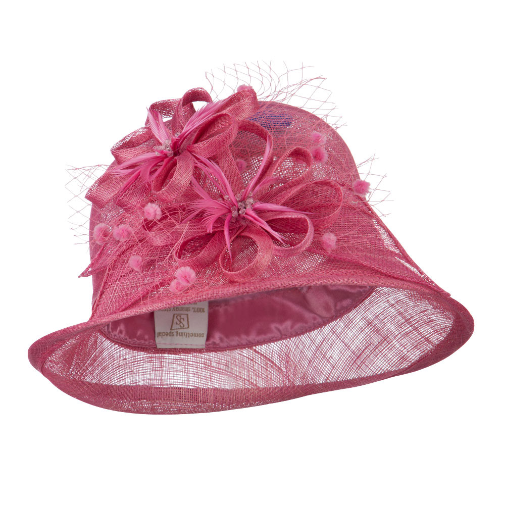 2 Flowers Accent Cloche Sinamay Hat - Rose - Hats and Caps Online Shop - Hip Head Gear
