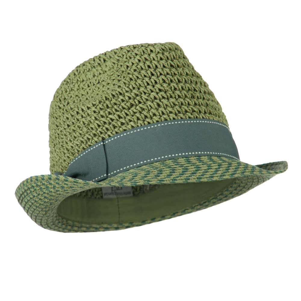 Crochet Crown Two Tone Brim Fedora - Sage