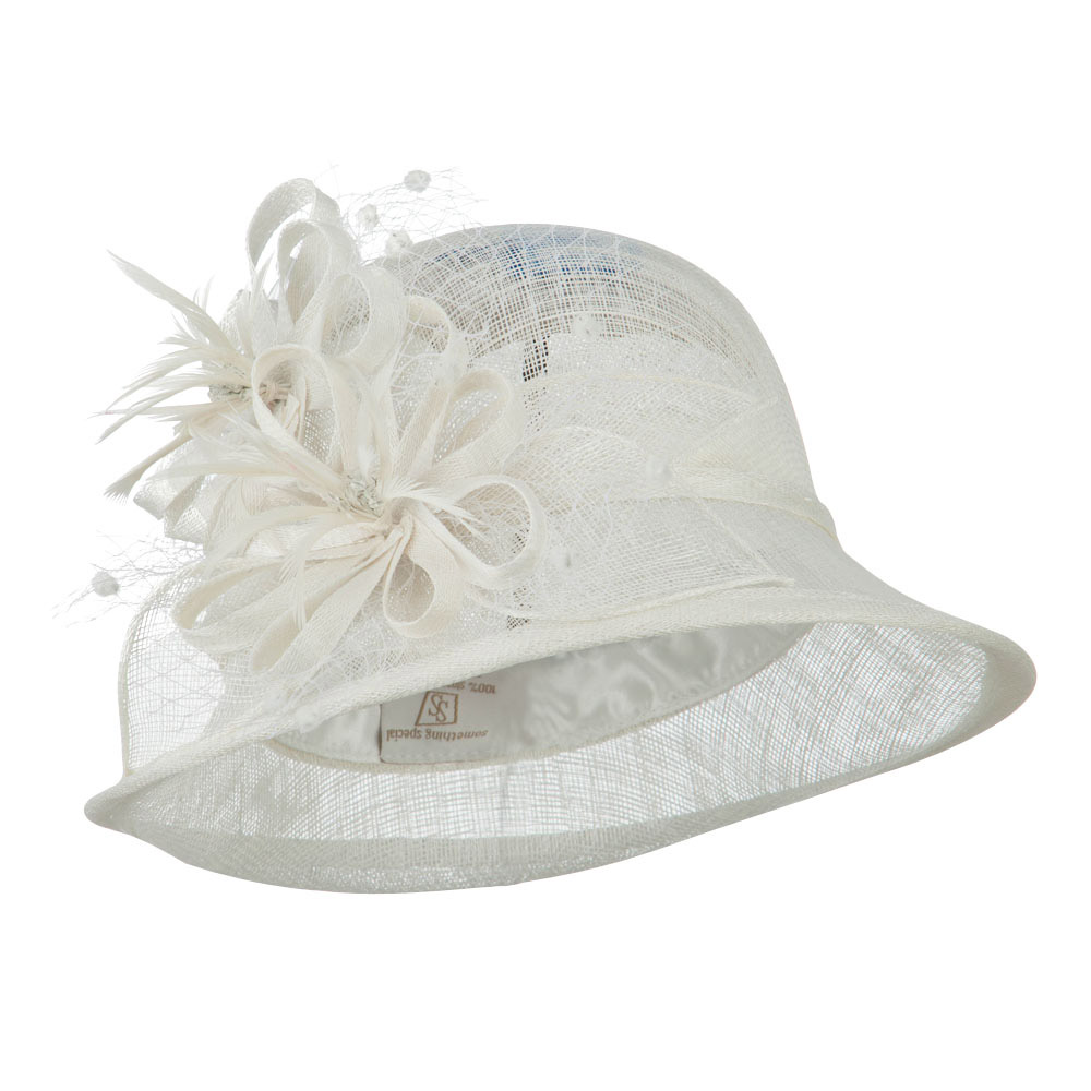 2 Flowers Accent Cloche Sinamay Hat - White - Hats and Caps Online Shop - Hip Head Gear