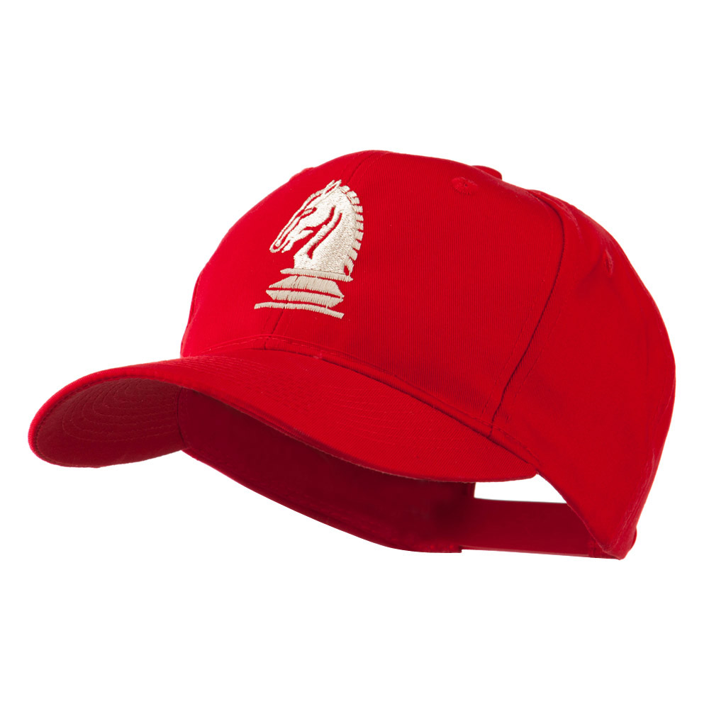 Chess Piece of a Knight Embroidered Cap - Red - Hats and Caps Online Shop - Hip Head Gear