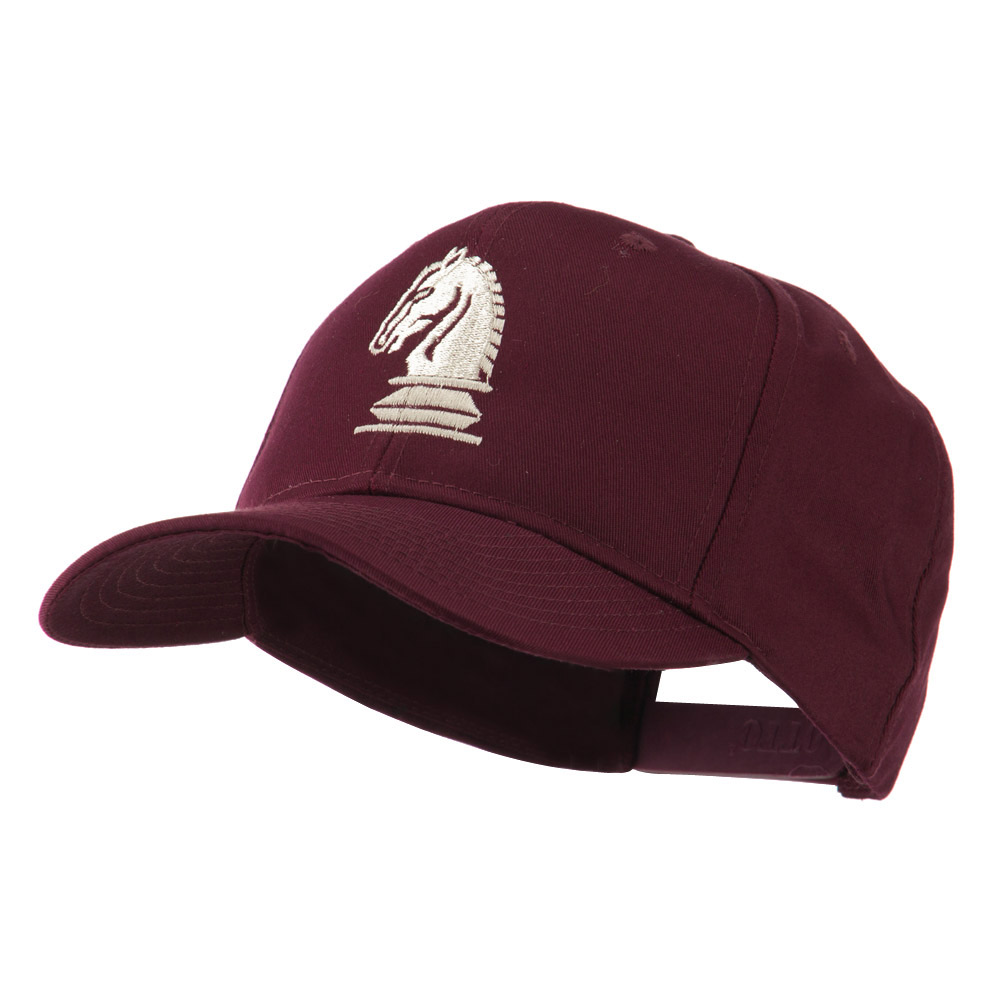 Chess Piece of a Knight Embroidered Cap - Maroon - Hats and Caps Online Shop - Hip Head Gear