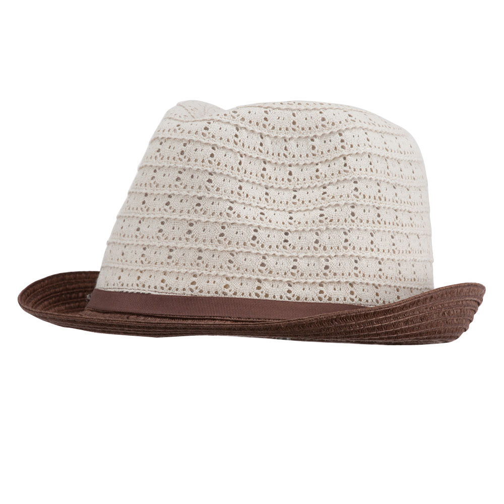 Women's Cotton Paper Braid Fedora - Natural Brown