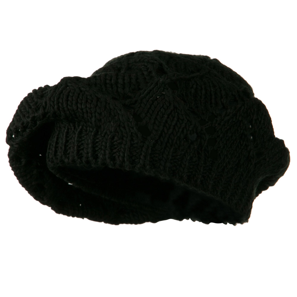 Cable Knit Beret - Black - Hats and Caps Online Shop - Hip Head Gear