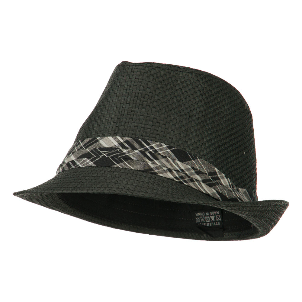 Checker Band Straw Fedora - Black - Hats and Caps Online Shop - Hip Head Gear