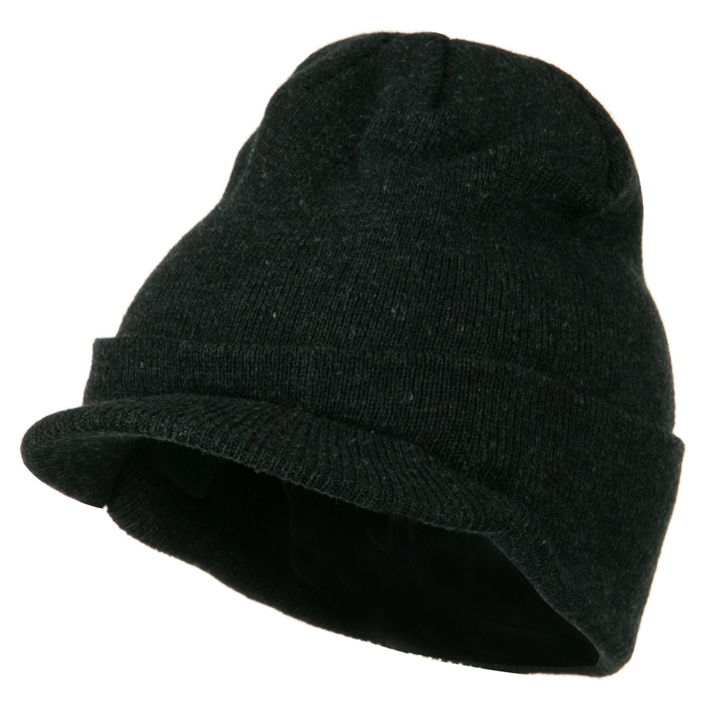 Cuff Knitted Beanie with Visor Bill - Charcoal - Hats and Caps Online Shop - Hip Head Gear