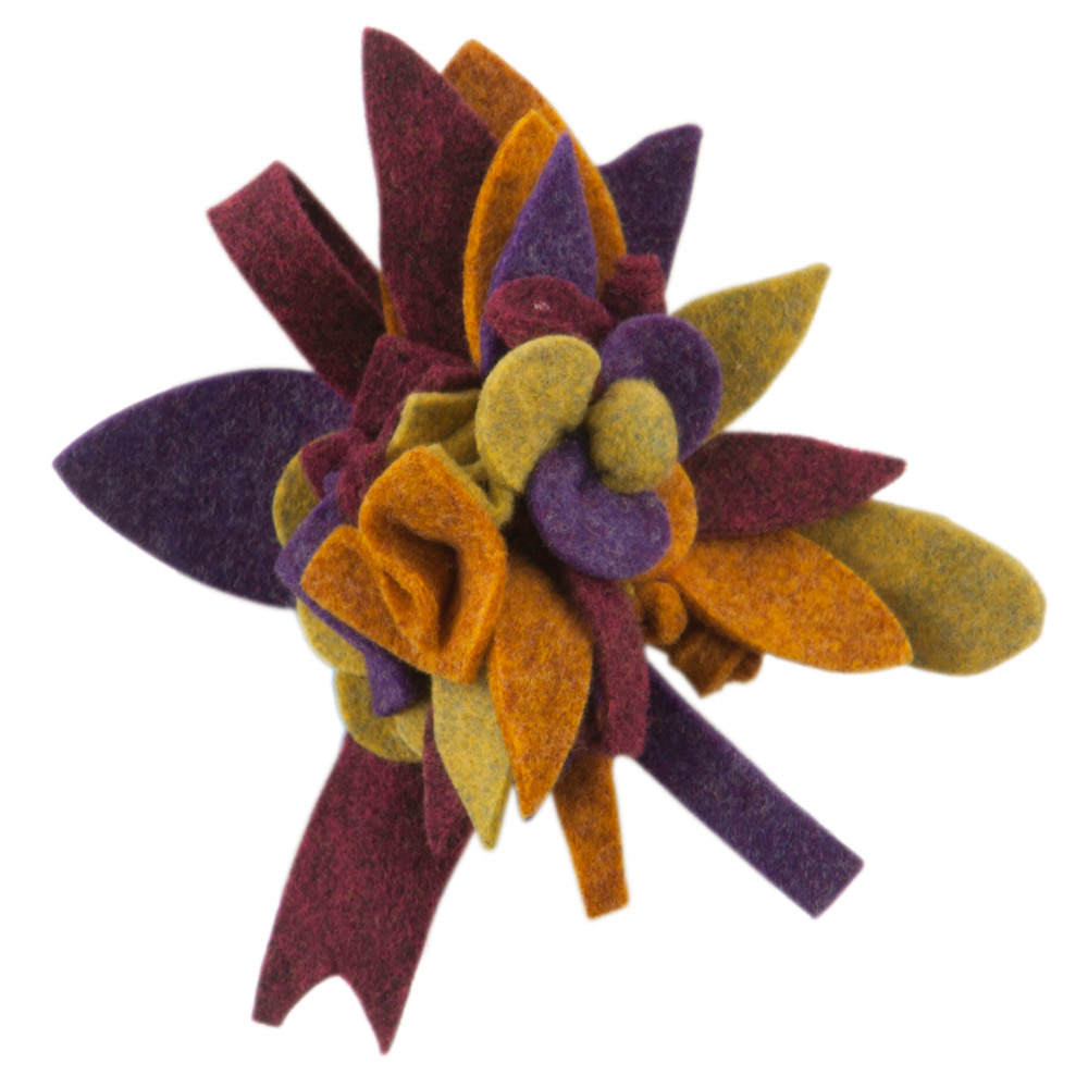 Colorful Felt Flower Pin and Hair Clip - Purple