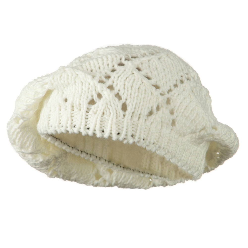 Cable Knit Beret - White - Hats and Caps Online Shop - Hip Head Gear