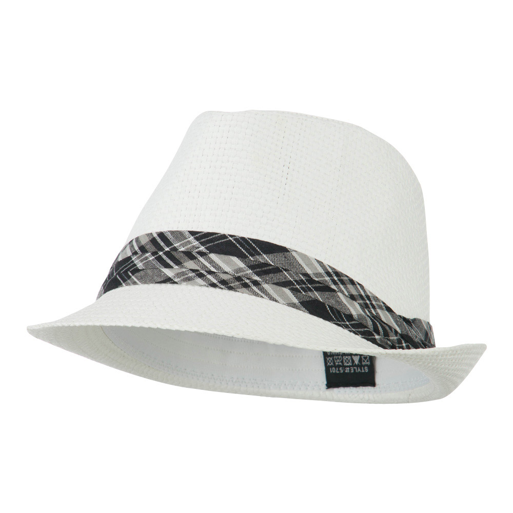 Checker Band Straw Fedora - White - Hats and Caps Online Shop - Hip Head Gear