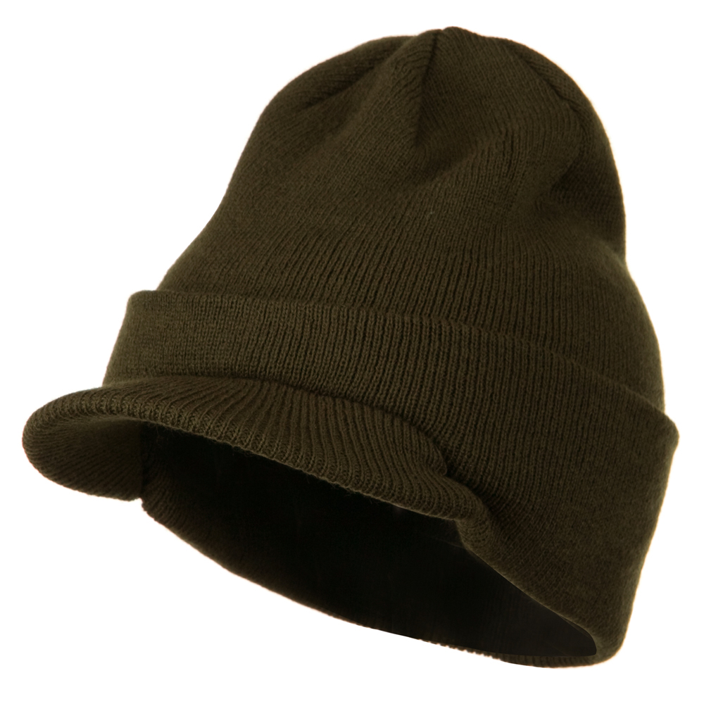 Cuff Knitted Beanie with Visor Bill - Olive - Hats and Caps Online Shop - Hip Head Gear