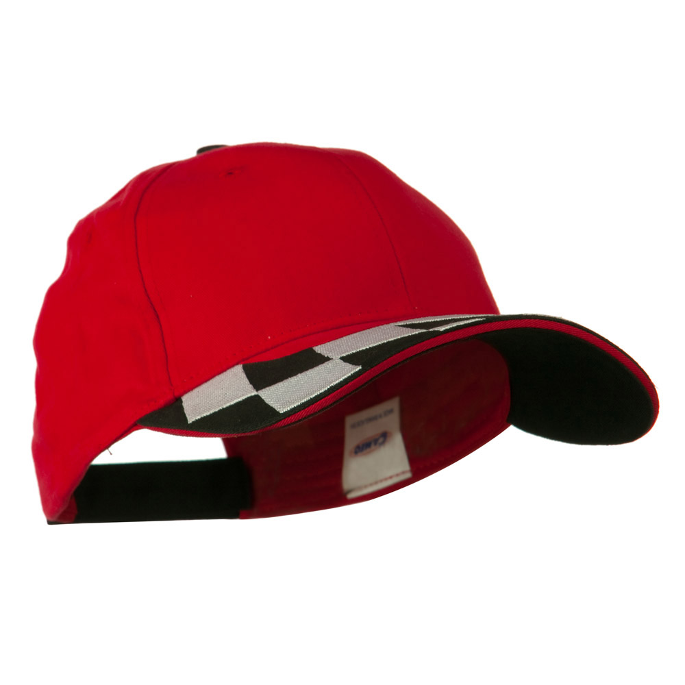 Brushed Cotton Embroidered Checker Logo Cap - Red - Hats and Caps Online Shop - Hip Head Gear