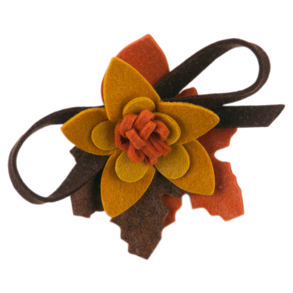 Colorful Felt Flower Pin and Hair Clip - Mustard