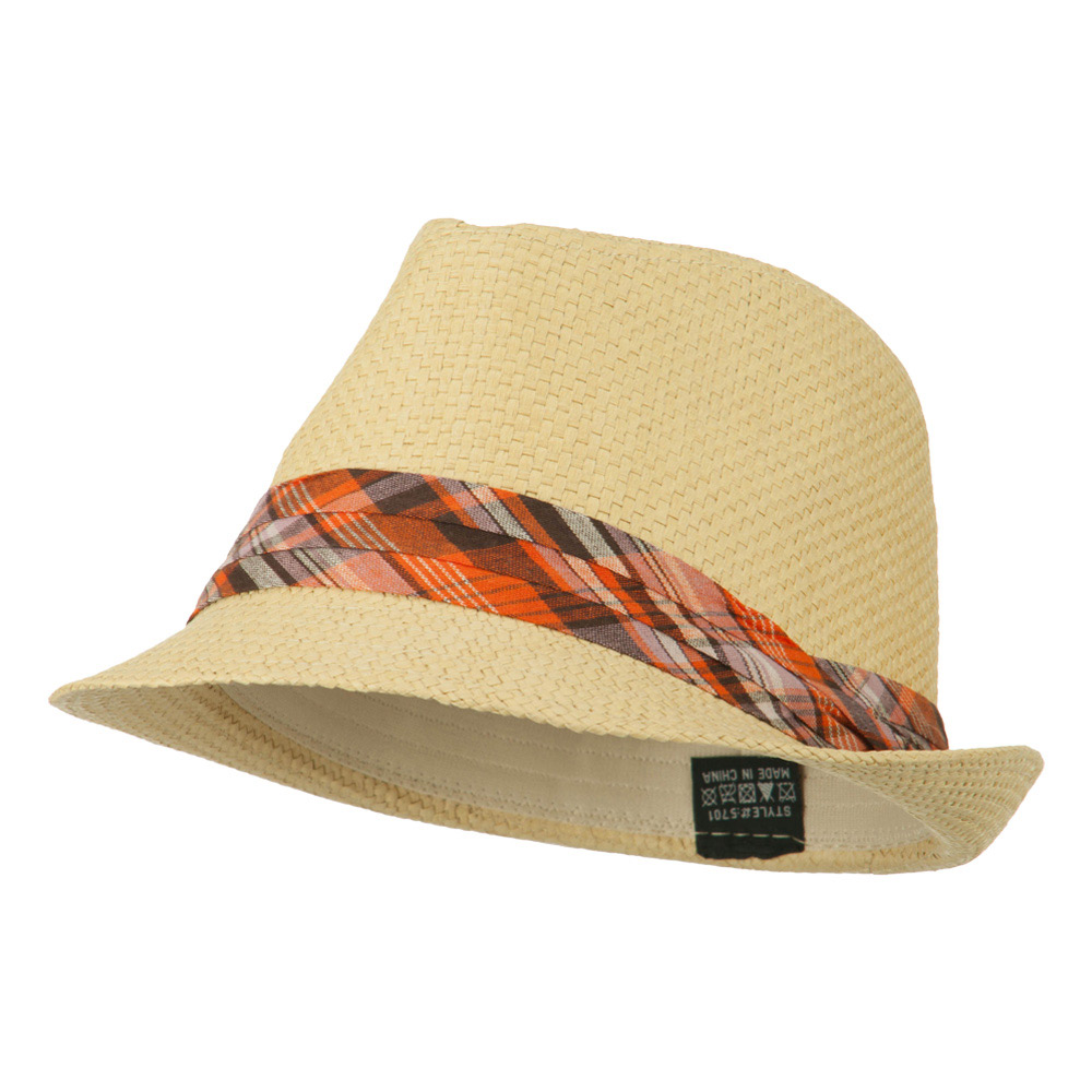 Checker Band Straw Fedora - Tan - Hats and Caps Online Shop - Hip Head Gear