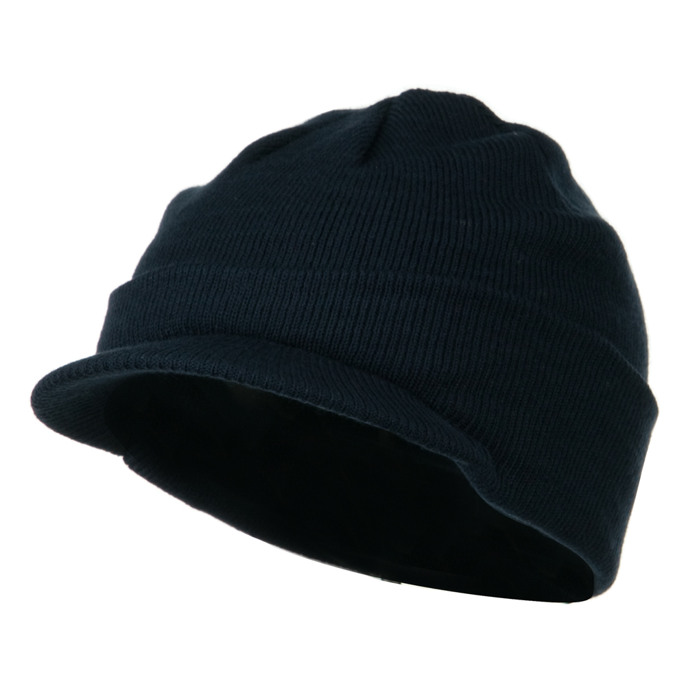 Cuff Knitted Beanie with Visor Bill - Navy - Hats and Caps Online Shop - Hip Head Gear
