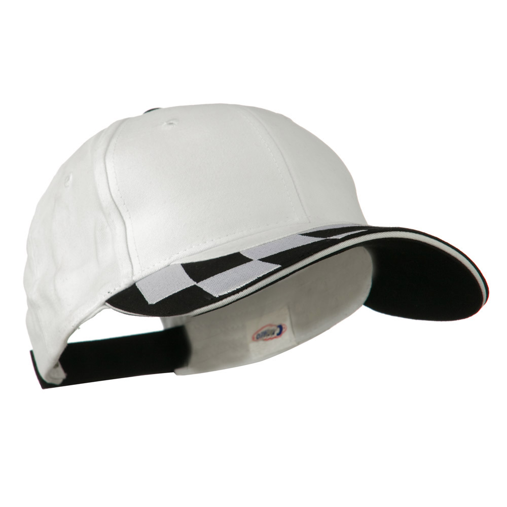 Brushed Cotton Embroidered Checker Logo Cap - White - Hats and Caps Online Shop - Hip Head Gear