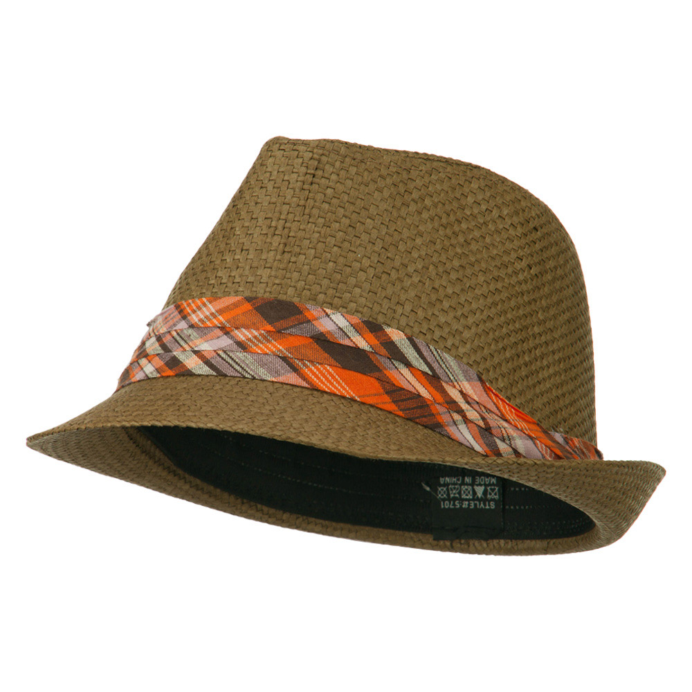 Checker Band Straw Fedora - Brown - Hats and Caps Online Shop - Hip Head Gear