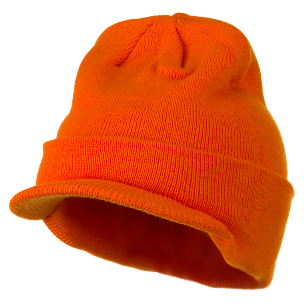 Cuff Knitted Beanie with Visor Bill - Orange - Hats and Caps Online Shop - Hip Head Gear