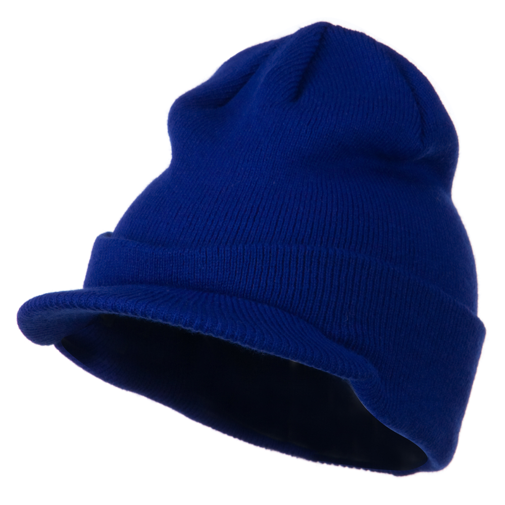 Cuff Knitted Beanie with Visor Bill - Royal