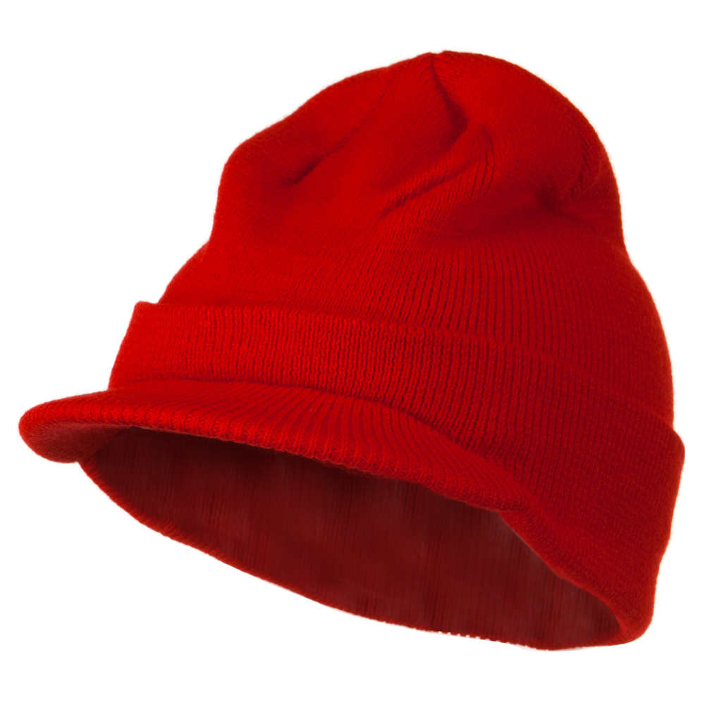 Cuff Knitted Beanie with Visor Bill - Red - Hats and Caps Online Shop - Hip Head Gear