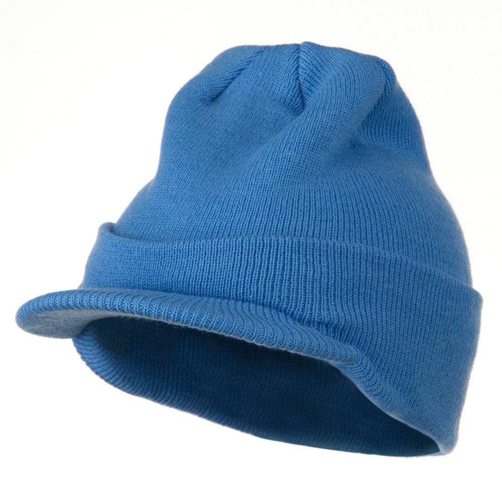 Cuff Knitted Beanie with Visor Bill - Sky Blue - Hats and Caps Online Shop - Hip Head Gear