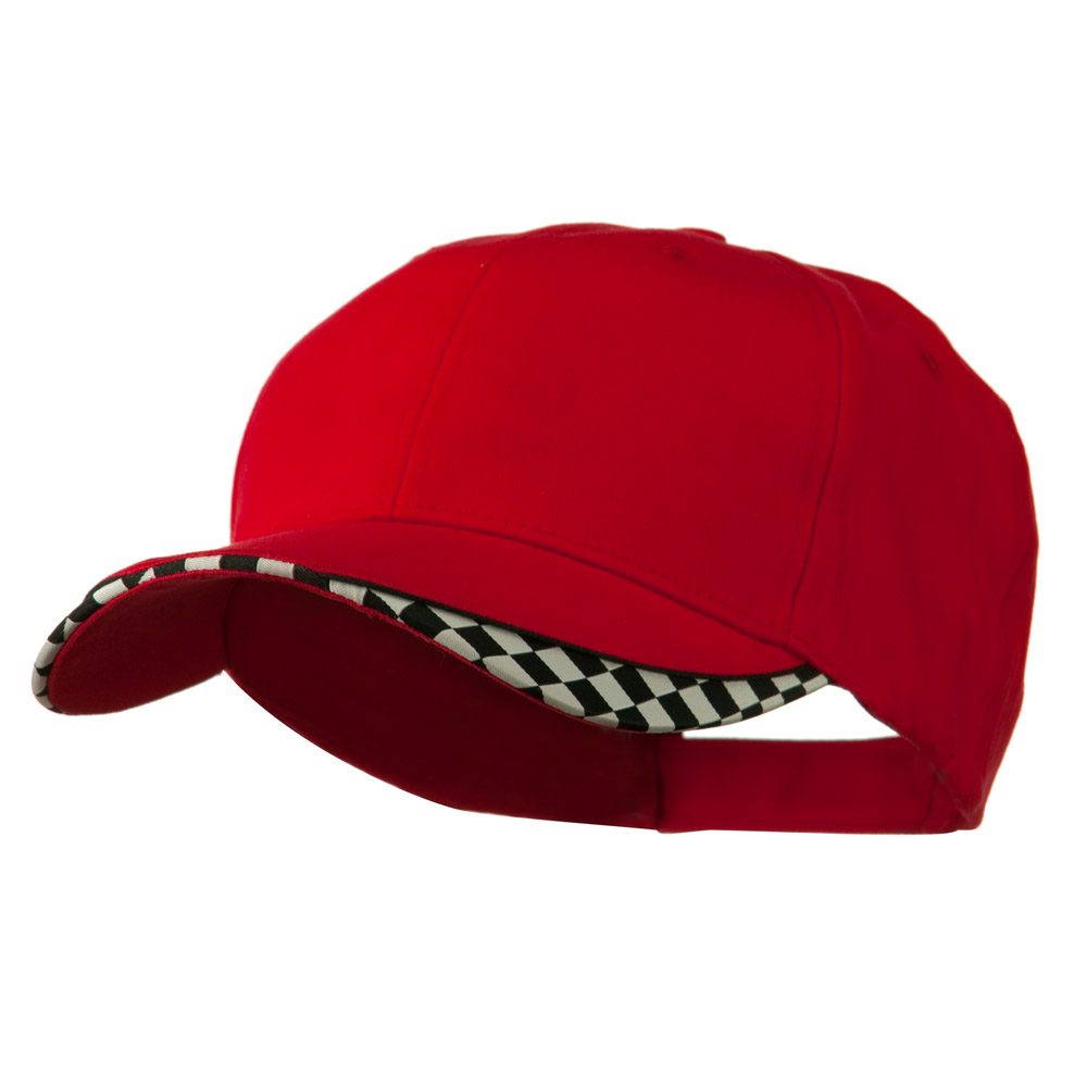 Brushed Cotton Imprinted Checker Logo Cap - Red - Hats and Caps Online Shop - Hip Head Gear