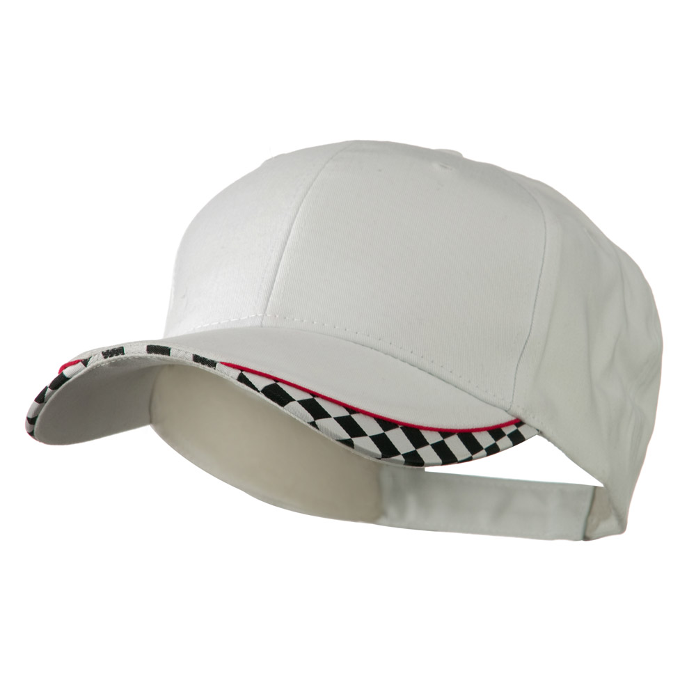 Brushed Cotton Imprinted Checker Logo Cap - White - Hats and Caps Online Shop - Hip Head Gear