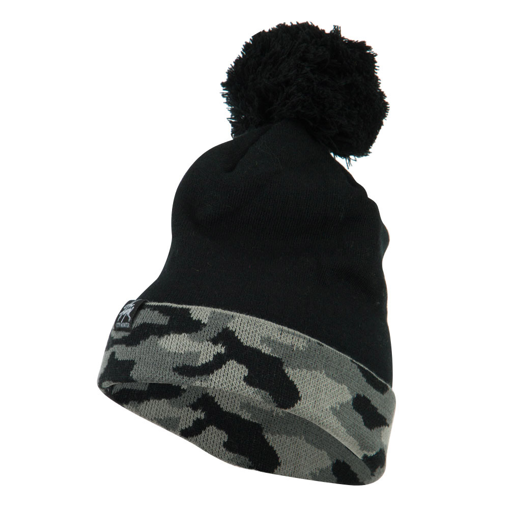 Camouflage Cuff Pom Beanie - Grey - Hats and Caps Online Shop - Hip Head Gear