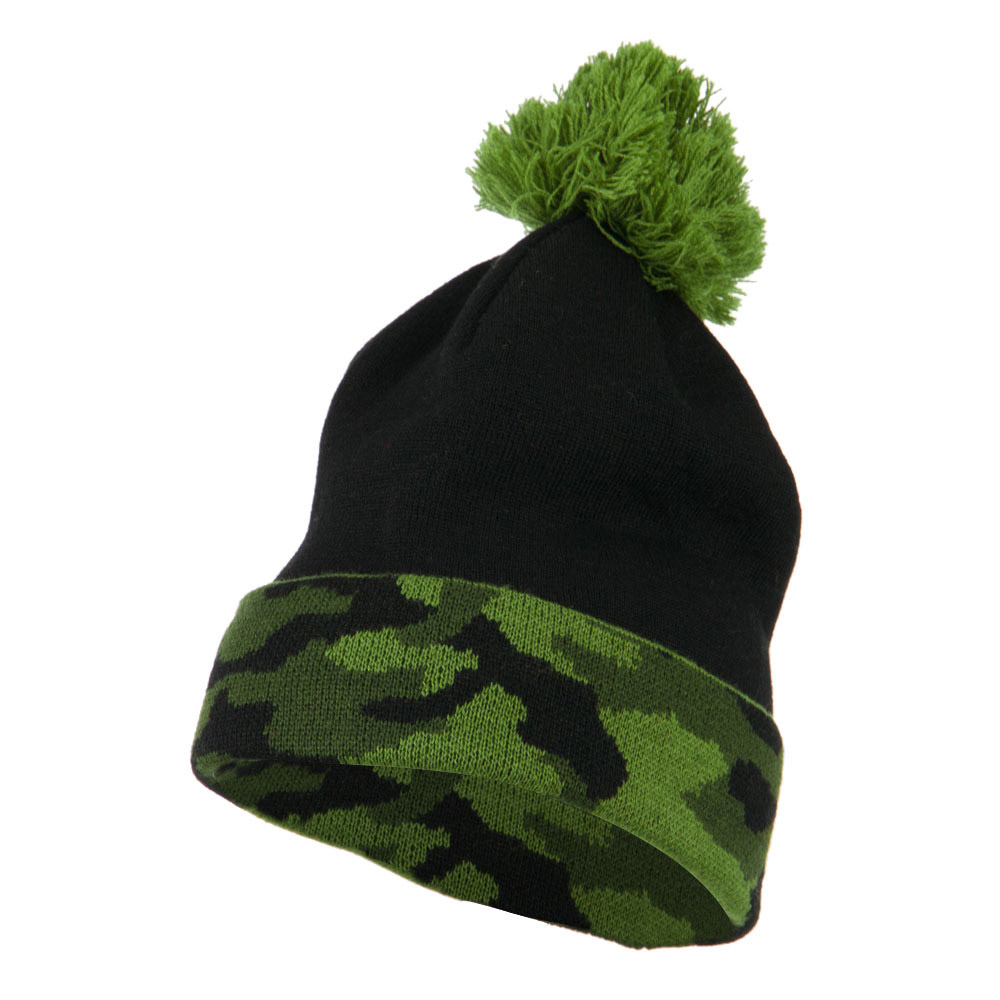 Camouflage Cuff Pom Beanie - Green - Hats and Caps Online Shop - Hip Head Gear