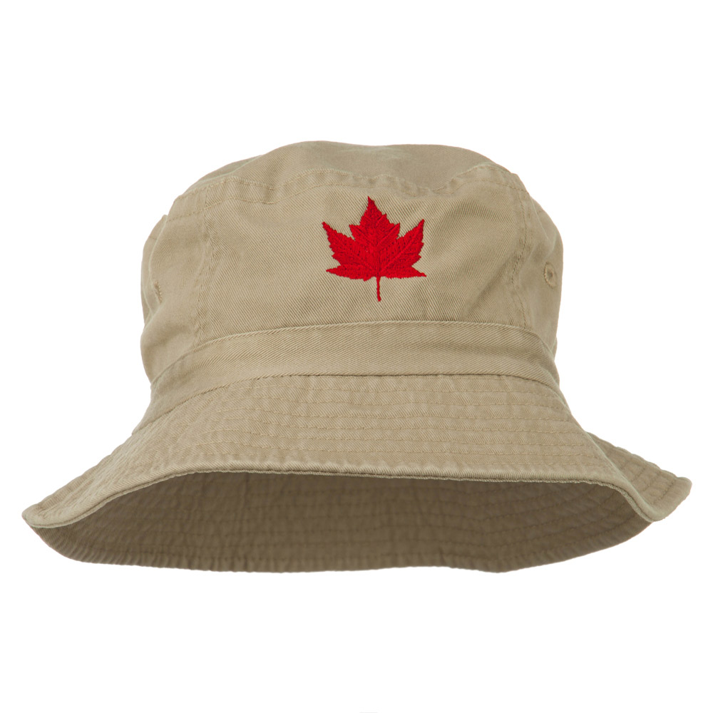 Canada Maple Leaf Embroidered Bucket Hat - Khaki